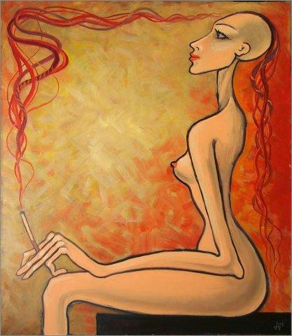 """Д. Акимов """"Девушка с красным дымом"""". Живопись."""